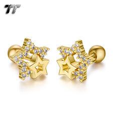 TT Gold Surgical Steel Multi CZ Star Cartilage Tragus Earrings (TR34J) NEW