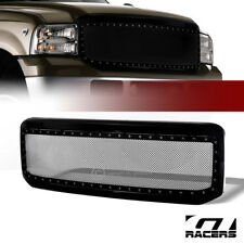 For 2005-2007 F250/F350 Superduty Blk Rivet Bolt Steel Mesh Bumper Grill Grille