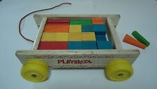 Vintage Wooden Wood Playskool Pull Toy Wagon with 35 Colorful Building Blocks