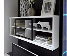 NEW Fever Wall Display Glass Cabinet Shelf - White with Black Back Board