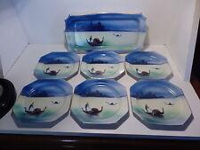 Rare Noritake J Design Gondola or Merchant of Venice Sandwich Tray with 6 Plates