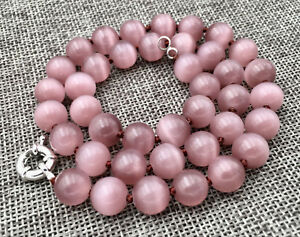 "Pretty 10mm Light purple Cat Eye Stone Opal Round Beads Gems Necklace 18 "" Y992"