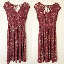Roxy Open Back Dress Floral Red Peach S Small New