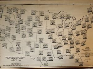 Vintage Pull Down Map CLOTH 1 Layer U.S. Vintage, Salvage, Old