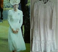 """*M&S COLLECTION """" KATE MIDDLETON"""" REPLICA WHITE LACE DRESS SIZE US 10,  14 BNWT"""