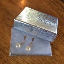 Vintage Pearl Drop Earrings Pierced 14K Gold ESTATE Victorian Look