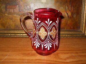 Vintage Moser Coralene Creamer Gold Enamelled Cranberry Glass Hand Blown