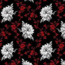 Fabric #2565, White, Gray, Red Floral on Black, Henry Glass, Sold by 1/2 Yard