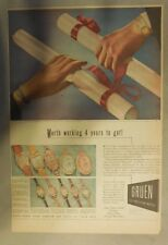 Gruen Watch Ad: Worth Working 4 Years To Get Diploma ! Tabloid Page from 1940's
