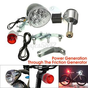 Bicycle Motorized Bike Friction Generator LED Headlight Tail Light Kit 6W 12V US