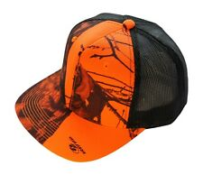 371826e44fd Mossy Oak Blaze Orange Camo Trucker Cap Flat or Curved Brim Snapback Mesh  Back
