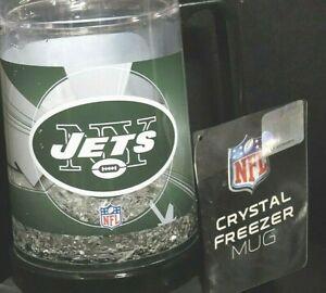 NY Jets Football CRYSTAL FREEZER MUG, New 16oz, keep Drinks Ice Cold NFL ,Gift
