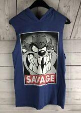Looney Tunes Tasmanian Devil SAVAGE hooded sleeveless medium blue shirt