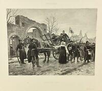 Gravure ancienne à l'eau forte XIXe- P GROLLERON «JANVILLE 1870 » salon 1888