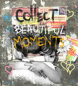 Collect Beautiful Moments street art by bald art andy baker THIS IS NOT A BANKSY
