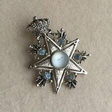 Vintage BARCS Silver TONE Blue RHINESTONE Glass STAR & Crown BROOCH/Pendant