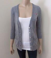 Hollister Womens V-Neck Cardigan Size Small Sweater Top Shirt Gray Sweatshirt