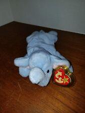 Ty Beanie Baby Peanut the Elephant Lt Blue VERY RARE PVC Pellets with Errors!!