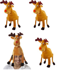 4 X FABRIC RUDOLPH THE RED NOSE REINDEER CHRISTMAS FANCY DRESS PARTY NOVELTY HAT