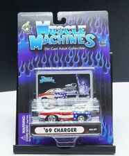 Muscle Machines 2002 Die Cast Collectible American Flag '69 Dodge Charger 1:64