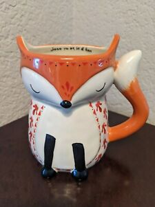"""Fox Shaped Coffee Mug Natural Life """"Wherever You Are, Be All There"""" 16 Oz Orange"""