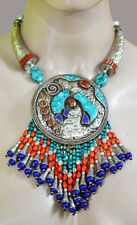 Sterling Silver Turquoise beads Necklace Ethnic Tibetan Tribal Jewelry PPL1