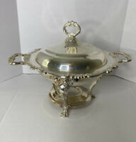 Sheridan Silver Plate Over Brass Large Chaffing Casserole  Dish Handles & Lid