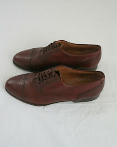 Santoni Classico Cap Toe Lace Up Brown Shoes Size 9.5 made in Italy