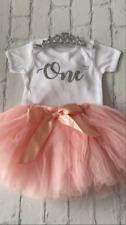 Luxury Girls 1st First Birthday Outfit Tutu Cake Smash Set Blush Tiara Silver