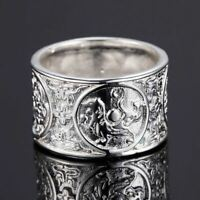 *UK Shop* 925 SILVER PLT WIDE CHINESE DRAGON BAND RING THUMB ORIENTAL GOTHIC