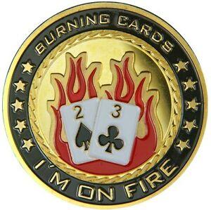 "UNIQUE POKER CARD GUARD 24K VERGOLDET ""I´m on Fire"""