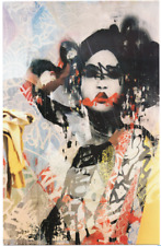 HUSH ART SHOW CARD PRINT woman graffiti portrait contemporary street art deco