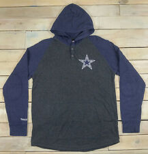 Mitchell & Ness NFL Dallas COWBOYS Long Sleeve Hooded Button Shirt XL (Fits L)