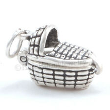 Baby Basket Charm Pendant BASKET Opens to BABY Moveable 925 Sterling Silver 3D