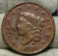 1826 Penny Coronet Large Cent -  Nice Coin, Free Shipping  (8482)