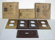 Vintage BRYANT Switch Plates / Outlet Covers: BRASS (2) + BAKELITE Sealed NOS