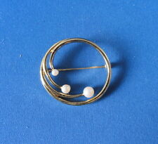 "Old Faux Pearl Circle Brooch - Gold Color - @ 1 1/4"" diameter - Signed: Monet"