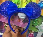 New 2021 Disney World Park Blue Sequin Mickey Mouse Ear Headband