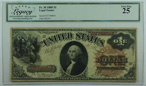1880 One Dollar United States Legal Tender Note $1 Fr. 30 Legacy VF-25