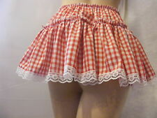 "SISSY ADULT BABY FANCY DRESS RED GINGHAM MICRO MINI  SKIRT 11""LONG ALL SIZES"