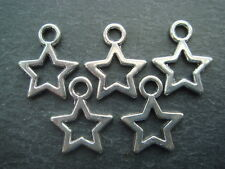 15 cute silver star charms 10mm hollow/open