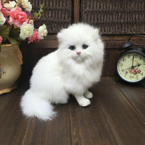 Cute Simulation Fluffy White Persian Cats Toys Lifelike Cat Dolls Hardware Model