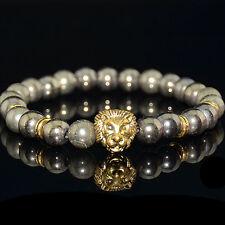 Fashion Pyrite Gold Lion Head Beads Charm Elastic Bracelet For Men
