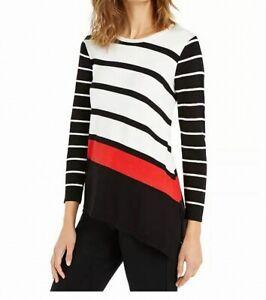 Alfani Womens Sweater White Red Size XL Tunic Asymmetrical Striped $69- 099