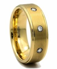 Mens Wedding Ring Cz New* 8mm Brushed Center Tungsten Carbide