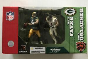 McFarlane Deluxe NFL 2-Pack Brett Favre (Packers) vs.Brian Urlacher (Bears) New