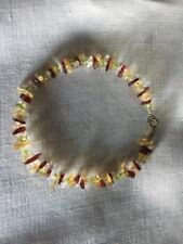 Burgundy, Green, Gold And White Bead Bracelet Or Anklet