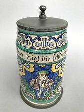 Barock Fayence Krug Walzenkrug Fayencekrug Humpen dicker kl. Mann Gmunden? ~1800