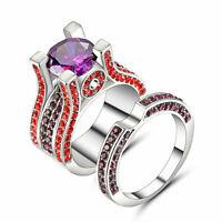 Lady's/Men's White gold Filled Couple Rings Set Multi-Color CZ Amethyst Size 8