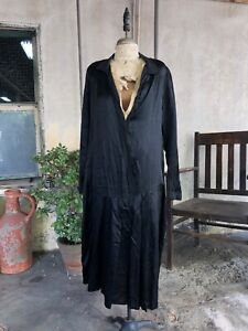 Antique 1920s Black Silk Satin Dress Starburst Pin Tucks Midi Pleated Vintage